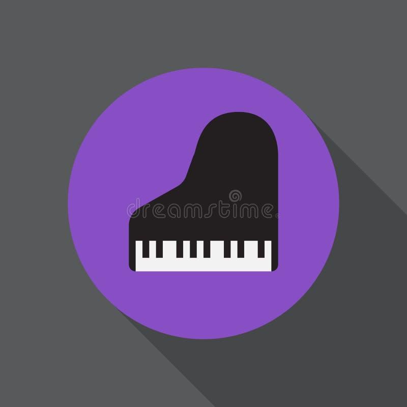 Ícone liso do piano de cauda Botão colorido redondo, sinal circular do vetor, ilustração do logotipo ilustração royalty free