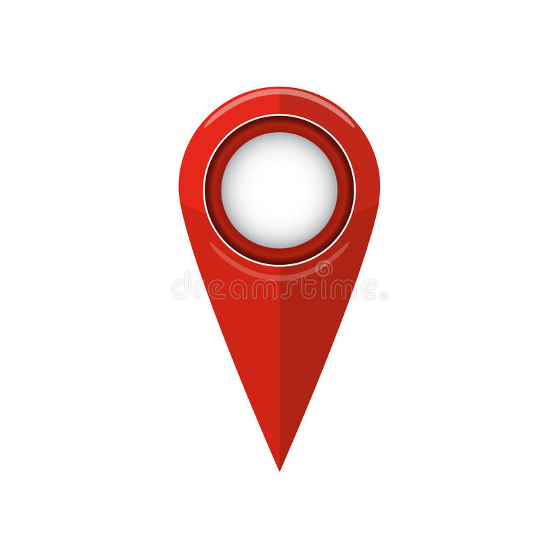 Ícone liso do ponteiro do mapa Símbolo de lugar de GPS Ilustração do vetor ilustração stock