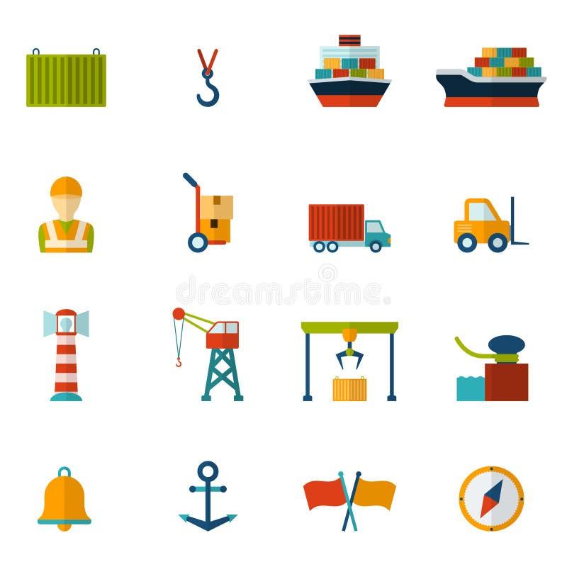 Ícone liso do porto ilustração royalty free