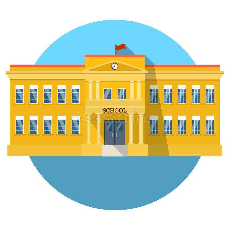 Ícone liso do prédio da escola com sombra longa ilustração royalty free