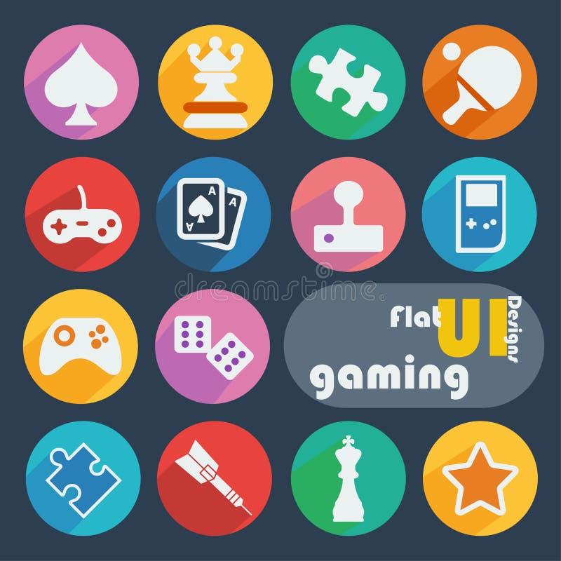 Ícone liso do projeto ajustado - jogo ilustração stock