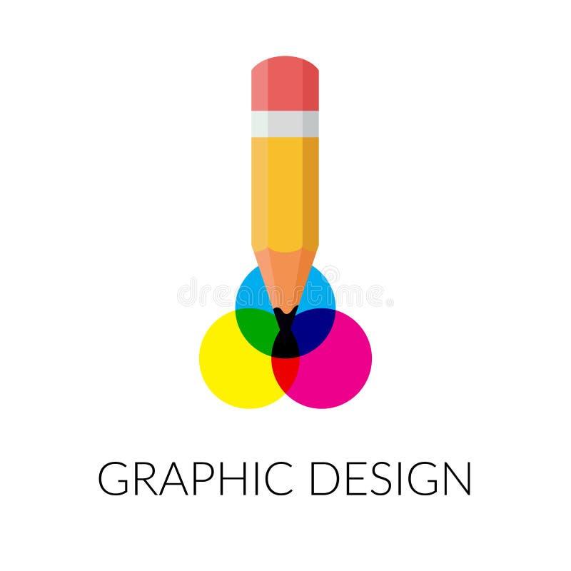 Ícone liso do projeto gráfico Projeto abstrato creativo Ilustração isolada vetor para o gráfico e o design web ilustração royalty free