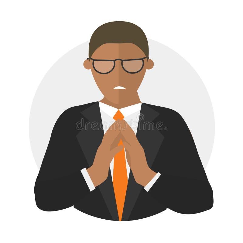 Ícone liso do projeto do homem de negócios insidioso, invejoso, mau ilustração stock