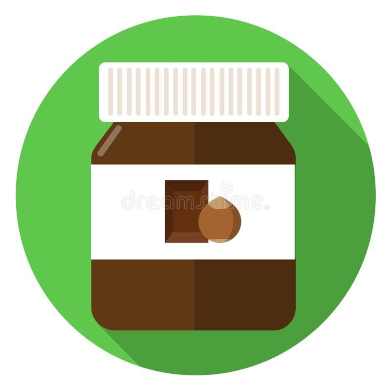 Ícone liso do projeto do pão da propagação do chocolate ilustração do vetor