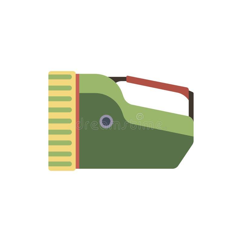Ícone liso do punho bonde grande da lanterna elétrica do turista Acampando ou caminhando o equipamento verde exterior da lâmpada  ilustração do vetor