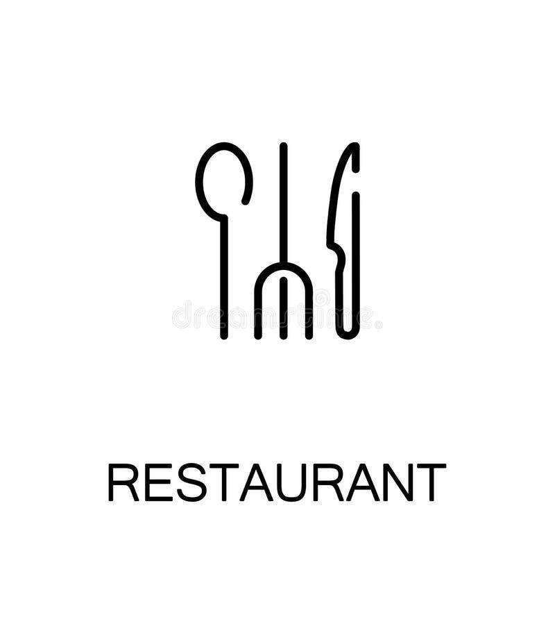 Ícone liso do restaurante ilustração stock