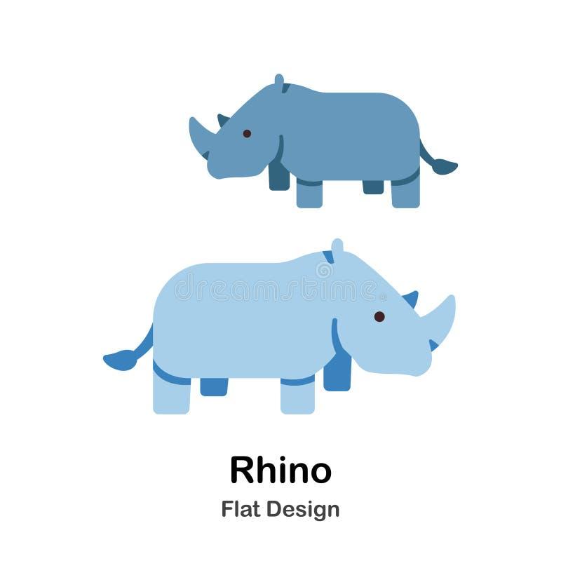 Ícone liso do rinoceronte ilustração stock