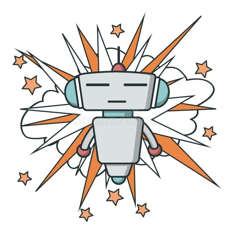 Ícone liso do robô do vetor ilustração royalty free