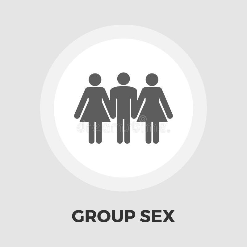 Ícone liso do sexo em grupo ilustração stock