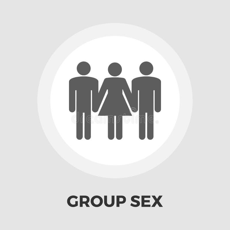 Ícone liso do sexo em grupo ilustração do vetor