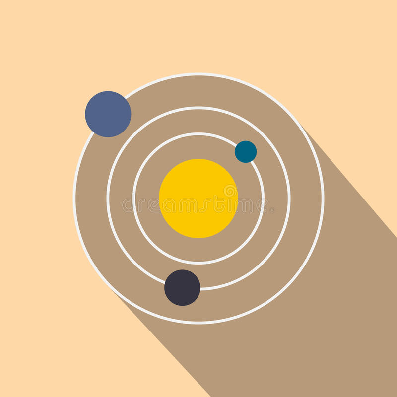 Ícone liso do sistema solar ilustração royalty free