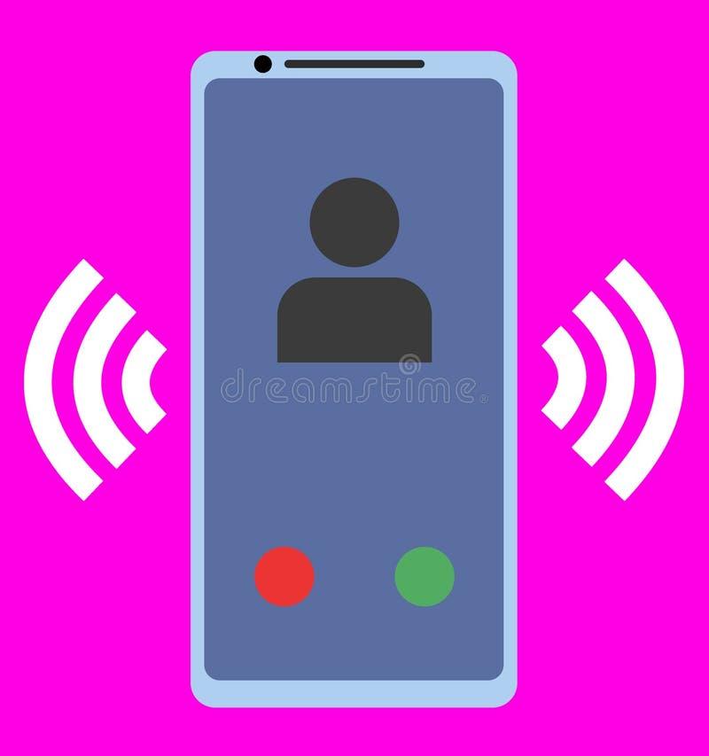 ?cone liso do smartphone em um fundo cor-de-rosa ilustração stock