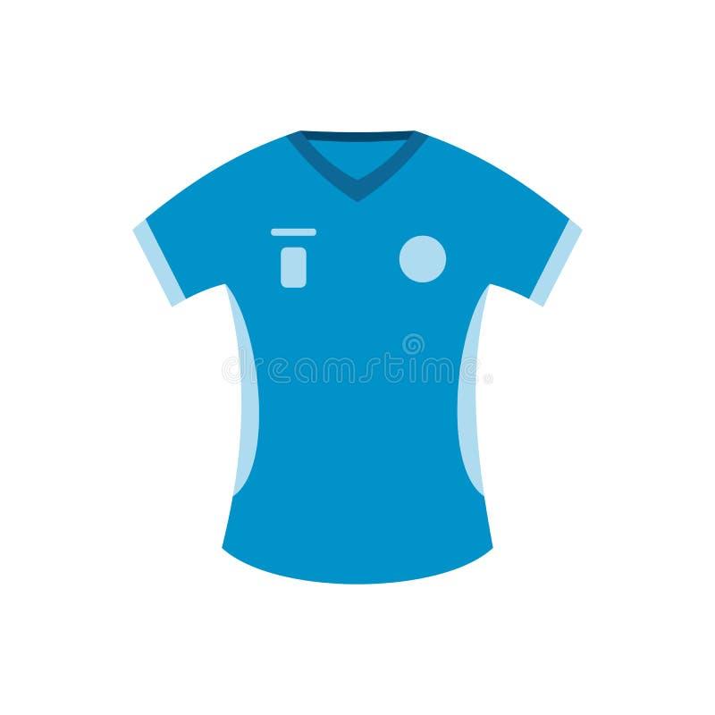 Ícone liso do t-shirt azul do basebol ilustração stock