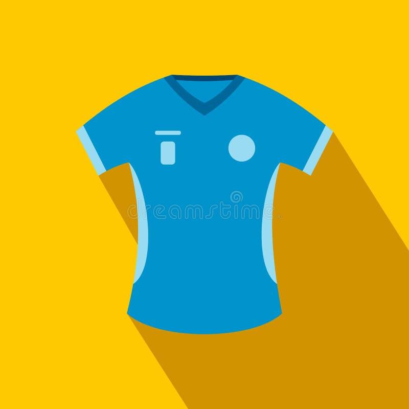 Ícone liso do t-shirt azul do basebol ilustração royalty free