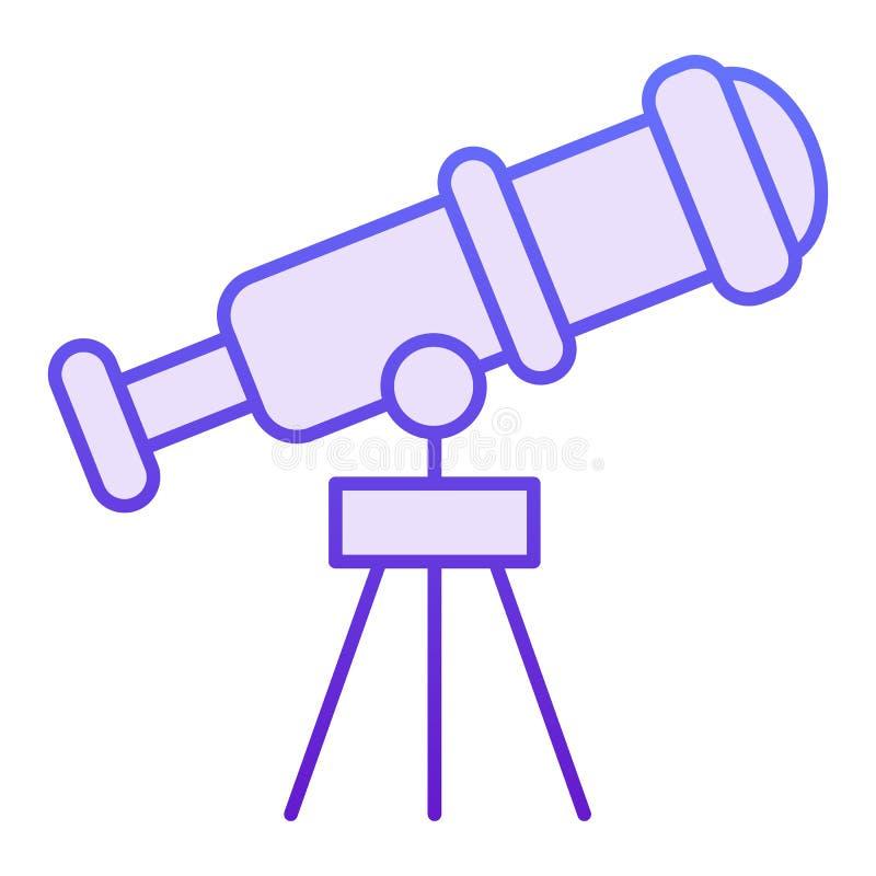 Ícone liso do telescópio Ícones violetas do telescópio pequeno no estilo liso na moda Projeto do estilo do inclinação da ocular,  ilustração royalty free
