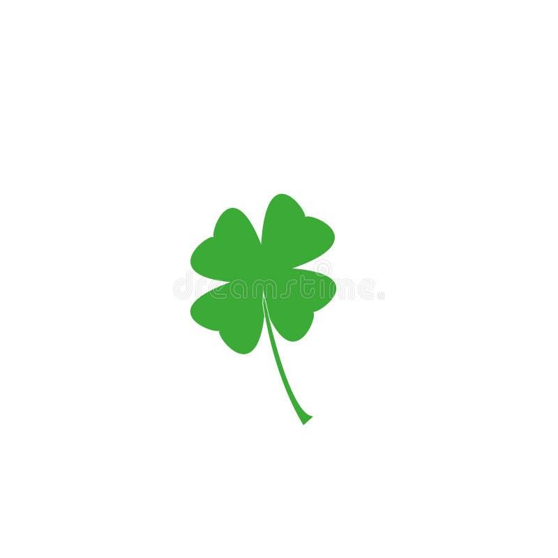 Ícone liso do trevo no fundo branco Trevo de quatro folhas isolado no branco, ilustração para o dia do ` s de St Patrick ilustração stock