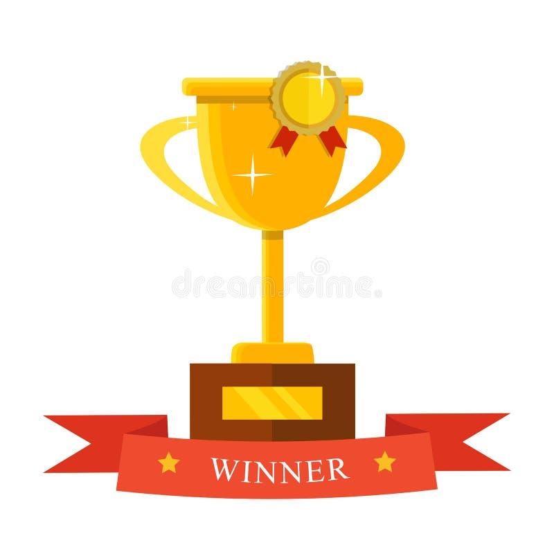 Ícone liso do troféu do campeão Copo dourado do vencedor championship ilustração do vetor