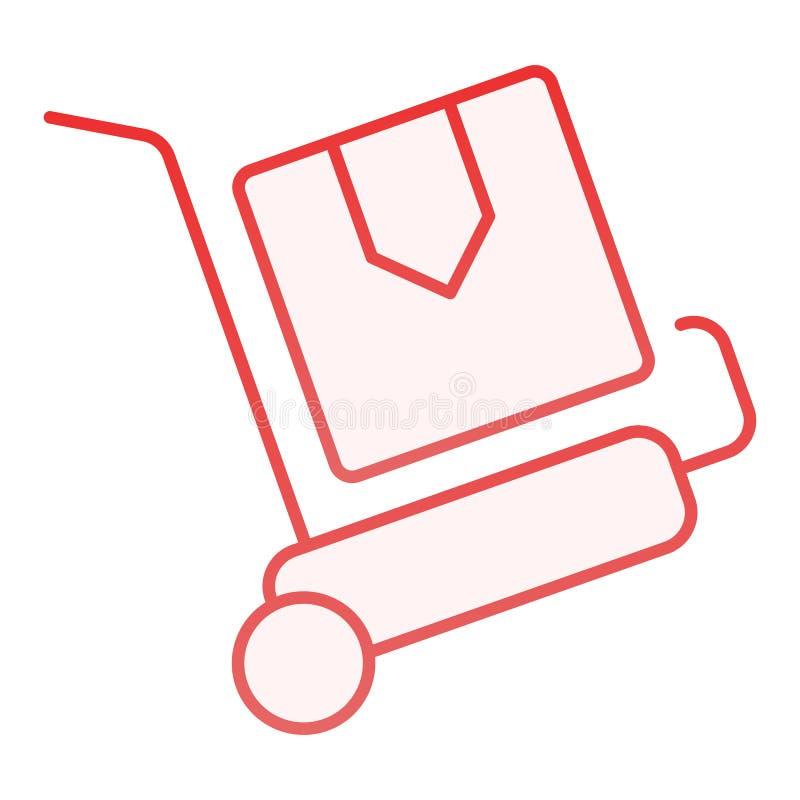 Ícone liso do trole da entrega dos pacotes Ícones vermelhos do carro da carga no estilo liso na moda Projeto do estilo do inclina ilustração royalty free