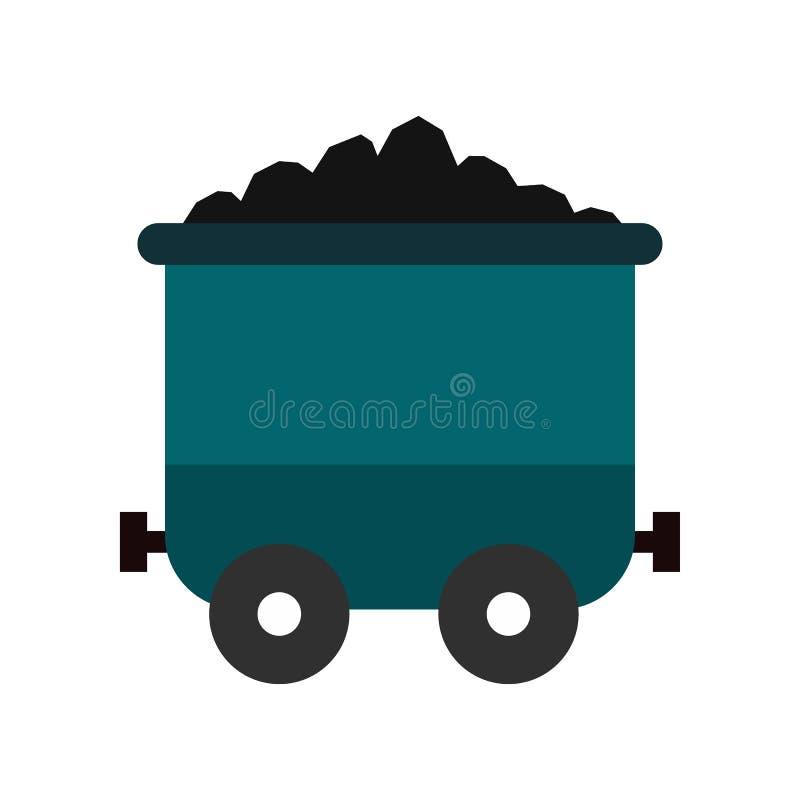 Ícone liso do trole de carvão ilustração stock