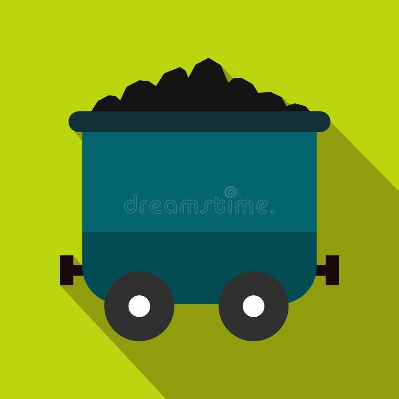 Ícone liso do trole de carvão ilustração do vetor