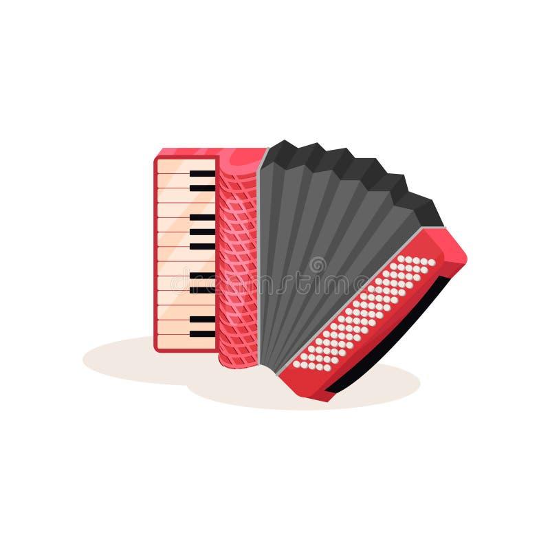 Ícone liso do vetor do acordeão vermelho Instrumento musical portátil com chaves preto e branco Elemento para anunciar o cartaz ilustração stock