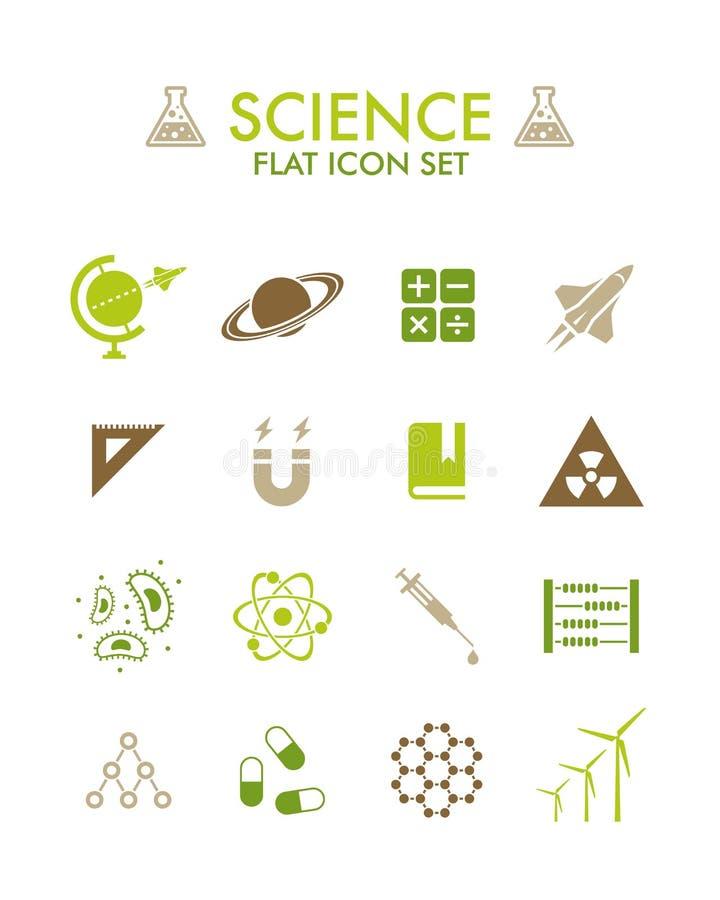 Ícone liso do vetor ajustado - ciência ilustração stock