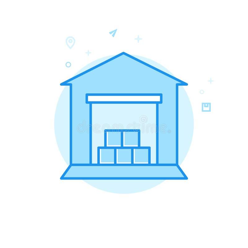 Ícone liso do vetor do armazém, símbolo, pictograma, sinal Claro - projeto monocromático azul Curso editável ilustração royalty free