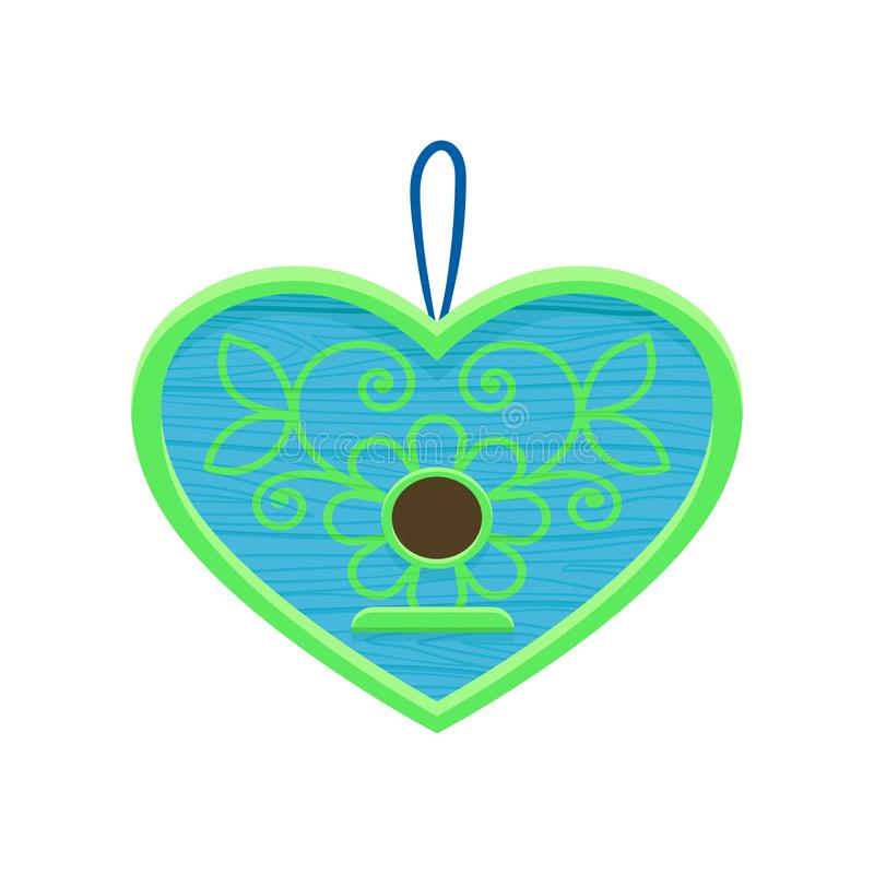 Ícone liso do vetor do aviário de suspensão na forma do coração Casa de madeira pequena para pássaros Caixa de assentamento azul  ilustração royalty free