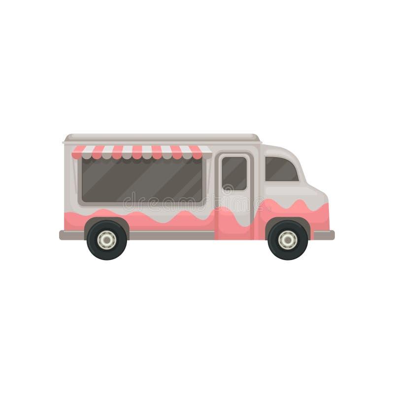 Ícone liso do vetor do caminhão do alimento Camionete cinzenta pequena com toldo Café nas rodas Projeto gráfico para o cartaz do  ilustração do vetor