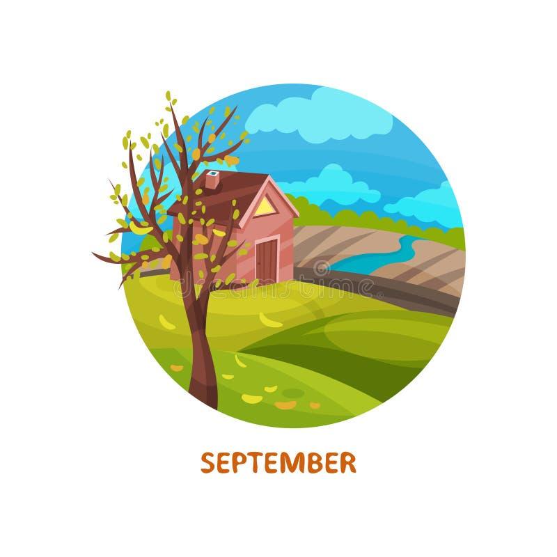 Ícone liso do vetor do campo com casa pequena, da árvore com folhas caídas, do rio e do campo Autumn Landscape setembro ilustração do vetor