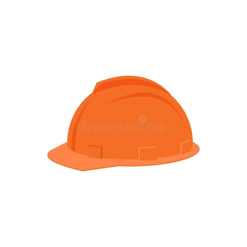 Ícone liso do vetor do capacete alaranjado plástico para o trabalhador da construção Chapelaria protetora Equipamento industrial  ilustração royalty free
