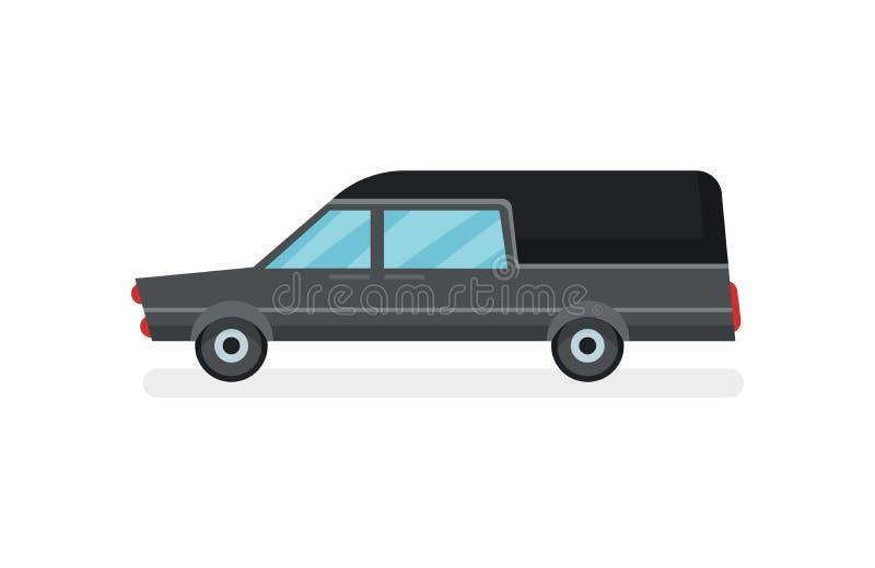 Ícone liso do vetor do carro fúnebre preto Carro do serviço fúnebre Transporte urbano Veículo motorizado moderno ilustração do vetor