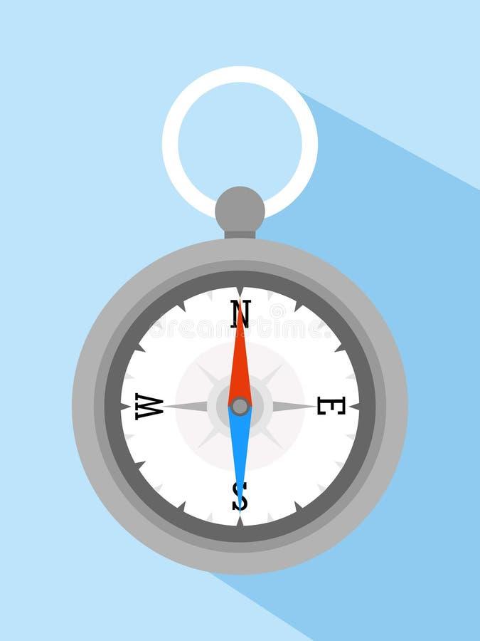 Ícone liso do vetor do compasso para a aventura ilustração stock