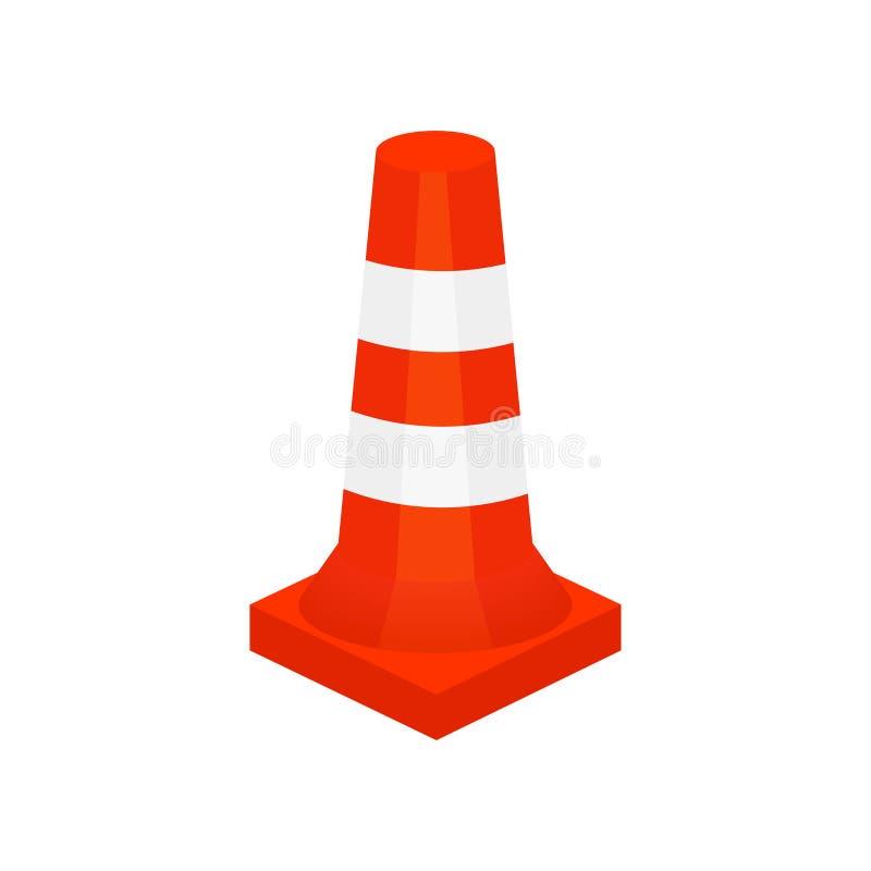 Ícone liso do vetor do cone plástico vermelho da construção e do tráfego Equipamento de segurança para trabalhos de estrada Eleme ilustração stock