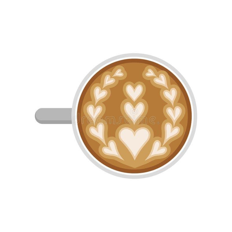 Ícone liso do vetor do copo do cappuccino com arte do latte, vista superior Café do aroma com espuma do leite na forma dos coraçõ ilustração do vetor