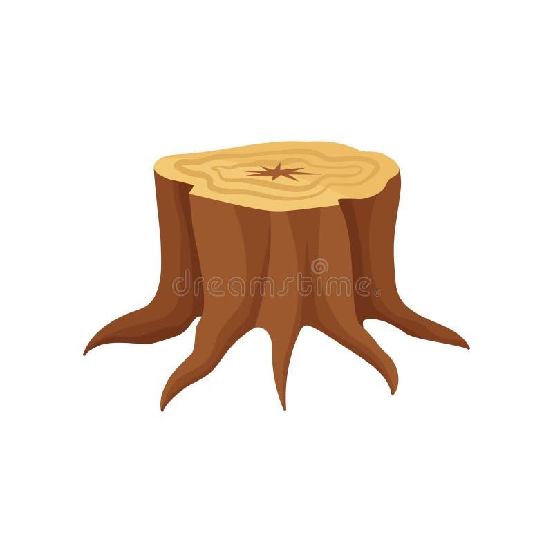 Ícone liso do vetor do coto de árvore velho com anéis e raizes anuais de crescimento Indústria de madeira da produção ilustração do vetor