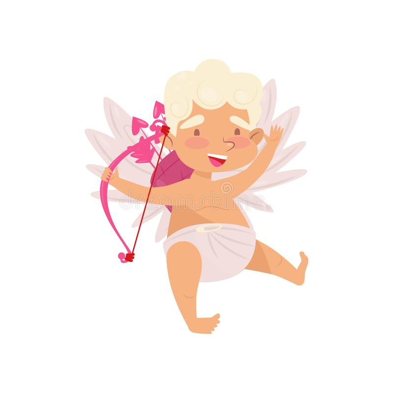 Ícone liso do vetor do cupido alegre Anjo bonito do amor com asas pequenas Personagem de banda desenhada do bebê com curva cor-de ilustração royalty free