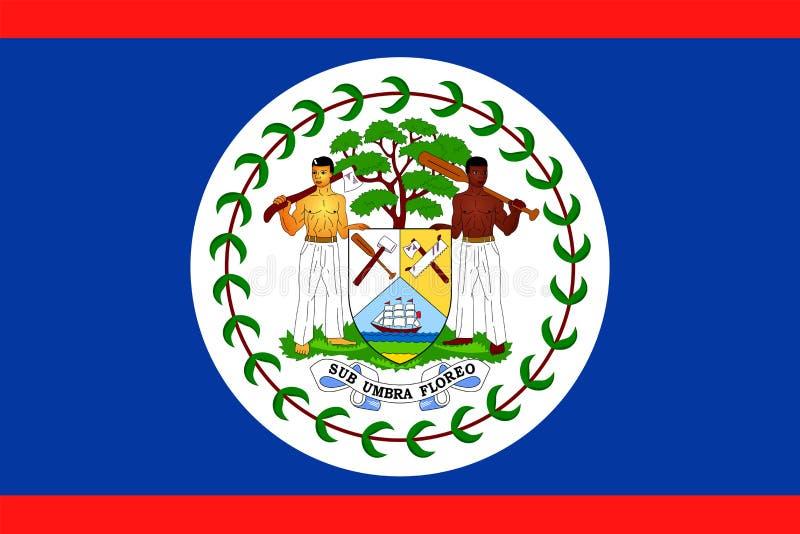 Ícone liso do vetor da bandeira de Belize ilustração do vetor
