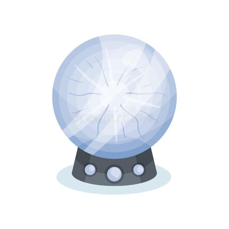Ícone liso do vetor da bola de cristal do adivinho s Esfera mágica no suporte cinzento Objeto para a previsão do futuro ilustração stock