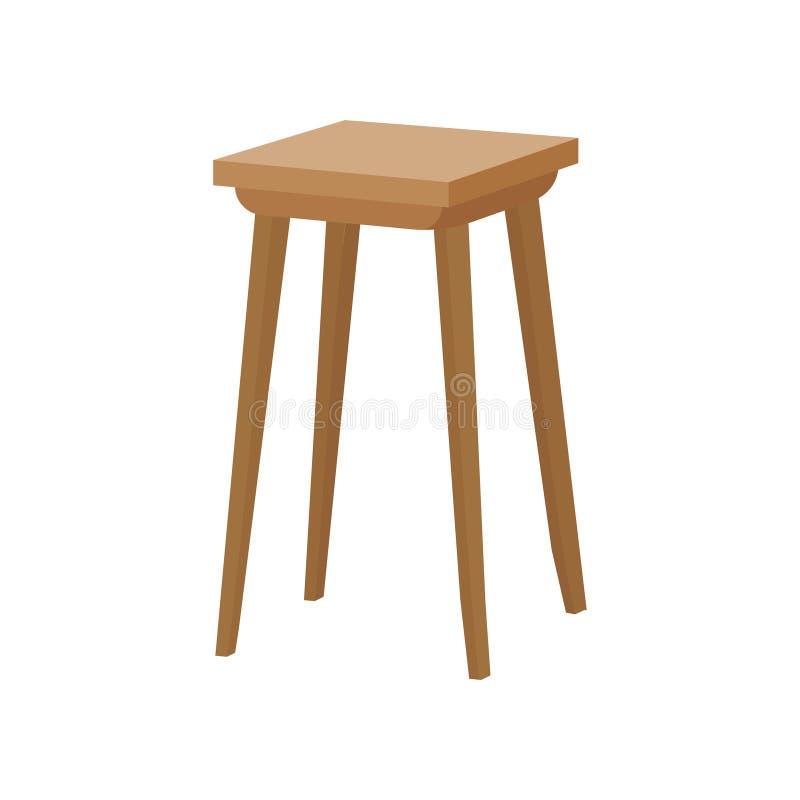 Ícone liso do vetor da cadeira de madeira Tamborete clássico da cozinha com assento quadrado Mobília home Elemento do interior ilustração do vetor
