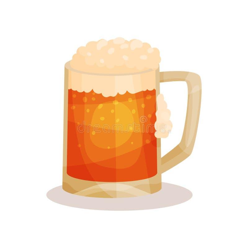 Ícone liso do vetor da cerveja de esboço com espuma Bebida alcoólica na caneca de vidro com punho Elemento para anunciar o cartaz ilustração do vetor