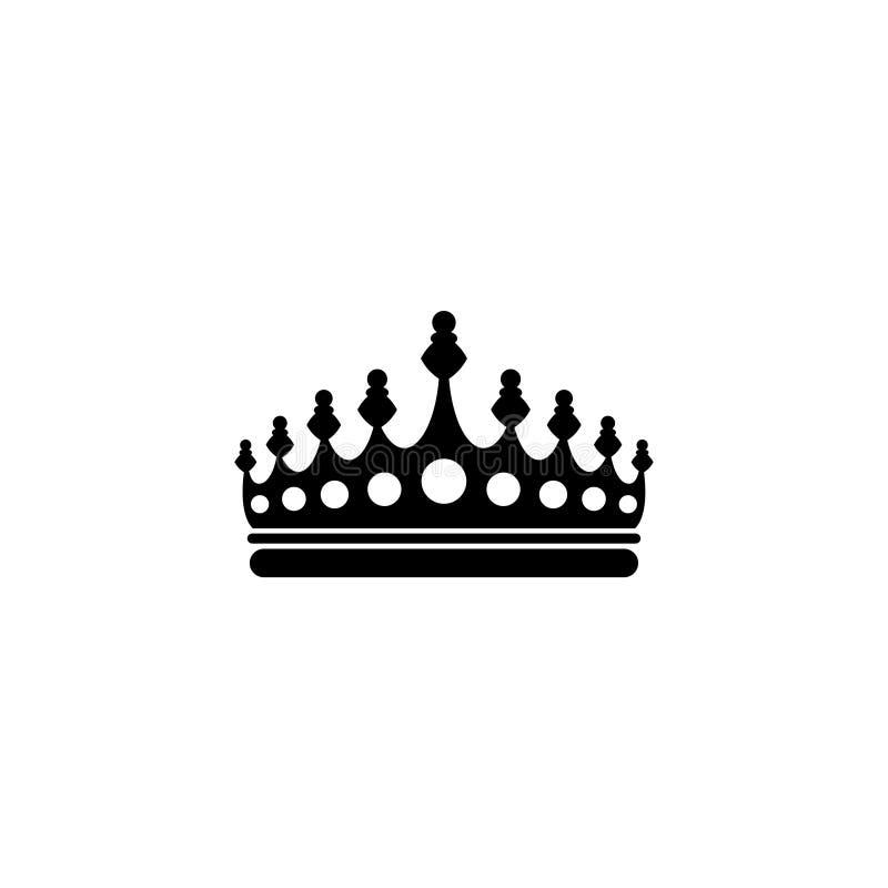 Ícone liso do vetor da coroa real ilustração stock