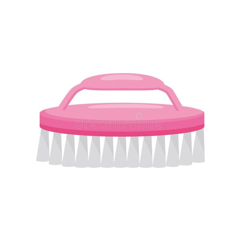 Ícone liso do vetor da escova plástica cor-de-rosa brilhante do prego Ferramenta de limpeza para o tratamento de mãos e o pedicur ilustração do vetor
