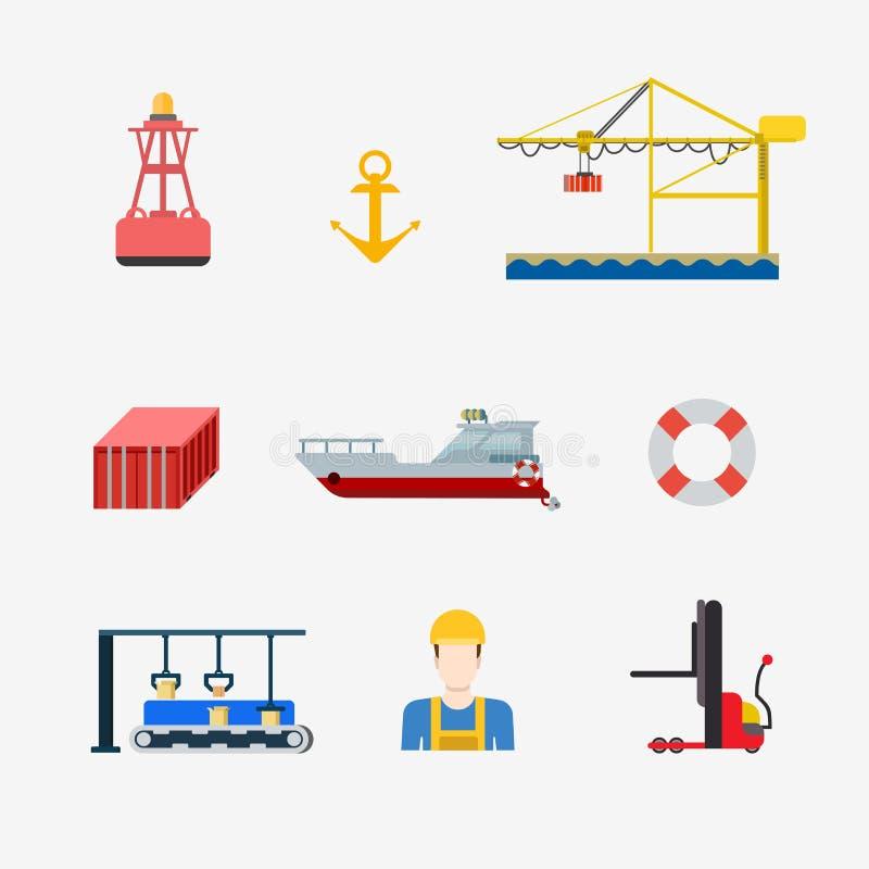 Ícone liso do vetor da expedição marinha náutica da entrega do porto ilustração royalty free