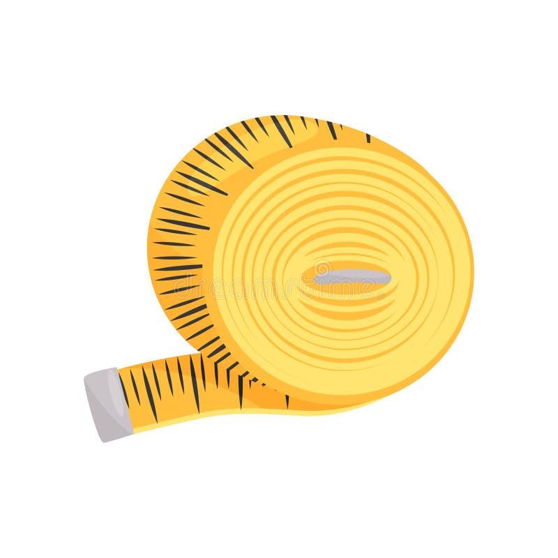 Ícone liso do vetor da fita métrica costurando amarela brilhante Instrumento para o comprimento de medição Roupa que costura o te ilustração do vetor