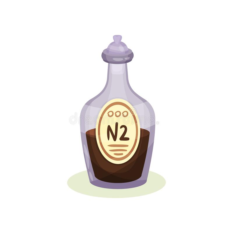 Ícone liso do vetor da garrafa de vidro com líquido médico marrom Garrafa transparente roxa com mistura da farmácia ilustração royalty free