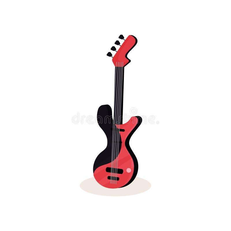 Ícone liso do vetor da guitarra elétrica preta e vermelha Instrumento musical amarrado moderno Elemento para o cartaz ou a música ilustração royalty free