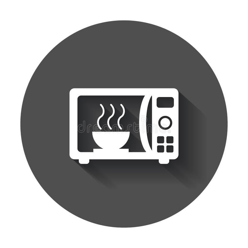 Ícone liso do vetor da micro-ondas Illustrat do logotipo do símbolo do forno micro-ondas ilustração do vetor