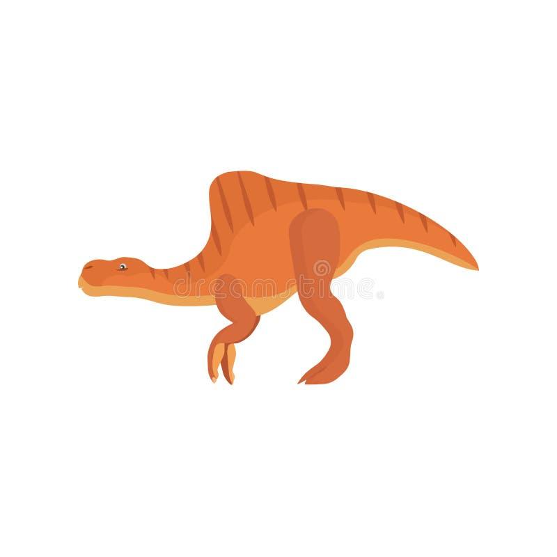 Ícone liso do vetor da opinião lateral do dinossauro Desenhos animados selvagens do símbolo da fantasia do lagarto do réptil Esti ilustração stock