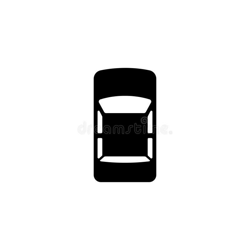 Ícone liso do vetor da opinião superior do carro ilustração do vetor